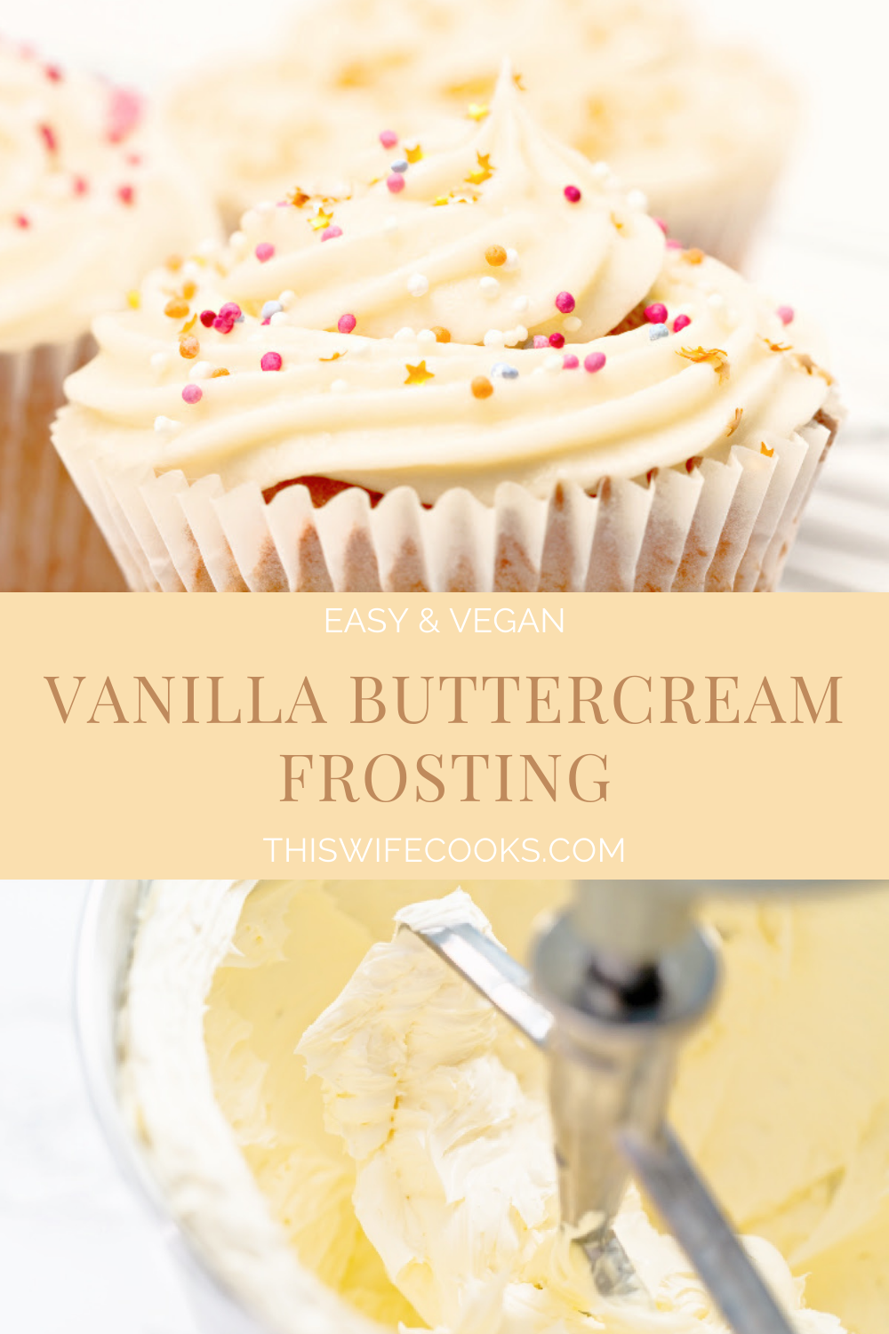 Vanilla Buttercream Frosting ~ A sweet and fluffy, easy to make, vegan buttercream frosting. 5 simple ingredients!  via @thiswifecooks