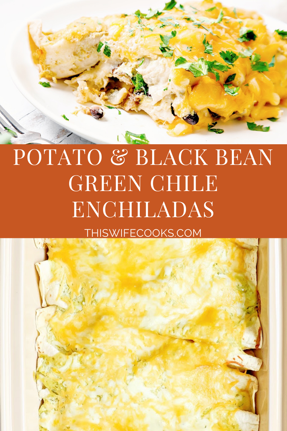 Potato and Black Bean Green Chile Enchiladas are easy to make and budget-friendly. Made with simple ingredients and pantry staples in under an hour.  via @thiswifecooks