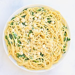 Spanakopita Pasta ~ Spinach, vegan feta, lemon, and dill all shine in this easy-to-make one-pot pasta dinner!