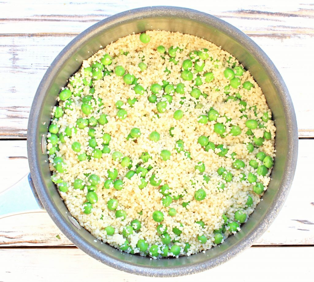Couscous and Peas ~ This straightforward pasta side dish is practically effortless to make. Ready in 10 minutes or less!