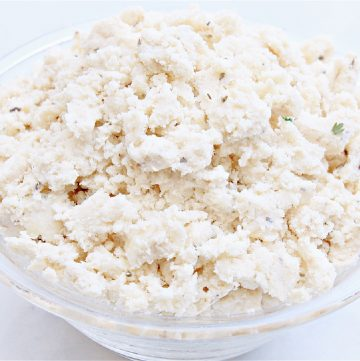 Vegan Tofu Feta Cheese ~ This dairy-free cheese is made on the stovetop then chilled to perfection for vegan feta that can be used for salads, casseroles, pizzas, and more!