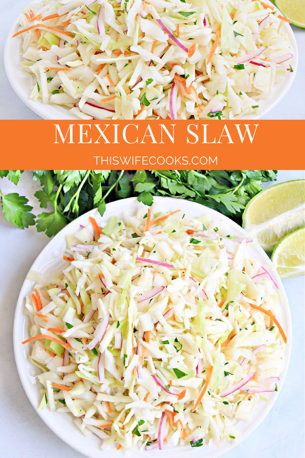 A cilantro-lime coleslaw that is ultra-light, healthy, and ready to serve in about 5 minutes! via @thiswifecooks