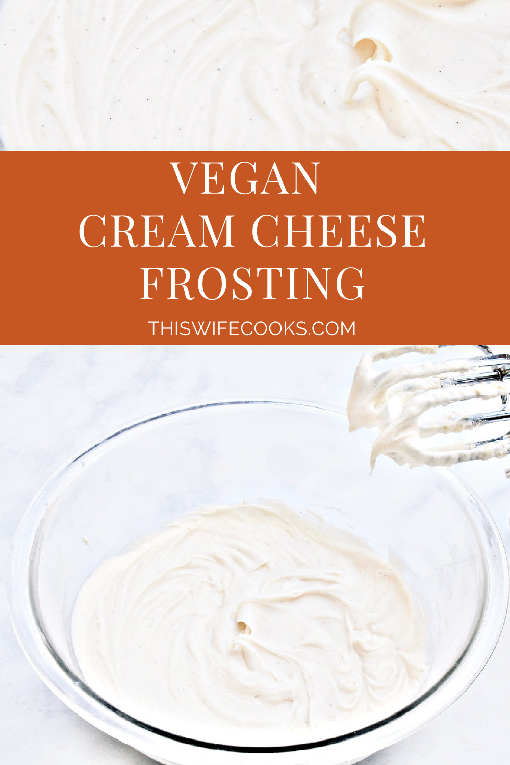 Vegan Cream Cheese Frosting ~ A rich and creamy dairy-free frosting made with 4 simple ingredients. This frosting is perfect for the holidays and everyday desserts, including carrot cake, red velvet cake, and even cookies! via @thiswifecooks