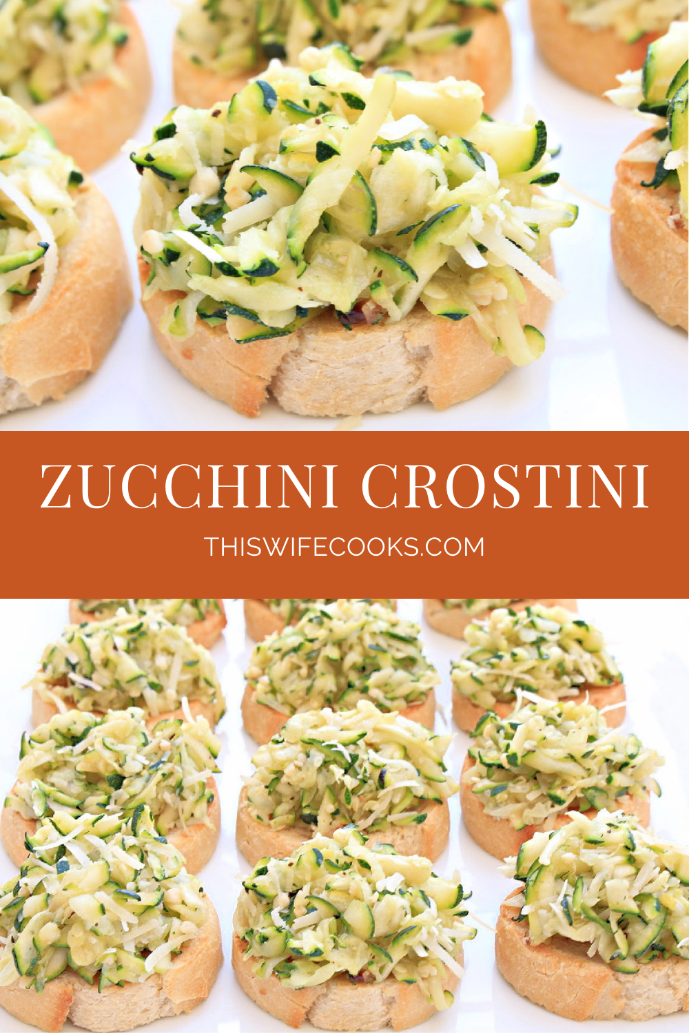 Zucchini Crostini ~ Toasted baguette with an easy bruschetta of grated zucchini, vegan parmesan, garlic and onion, and simple seasonings. Perfect for the warmer months as an appetizer or light meal served outdoors. via @thiswifecooks