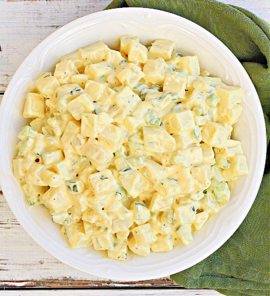 vegan american potato salad - top down view