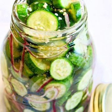 View of glass jar filled with refrigerator pickle ingredients.