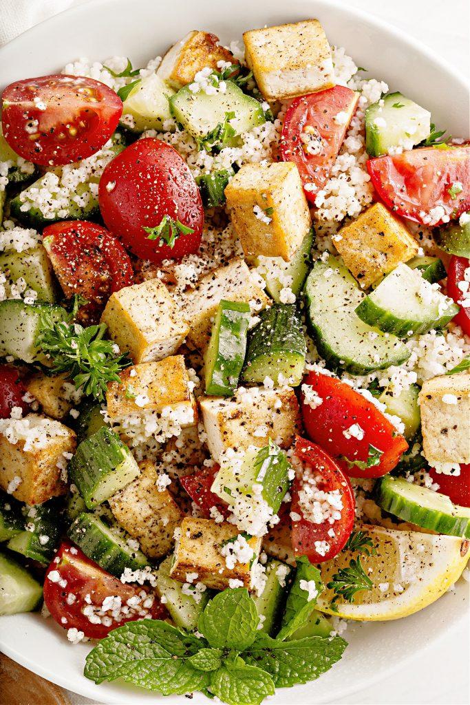 closeup of herbed couscous and tofu salad