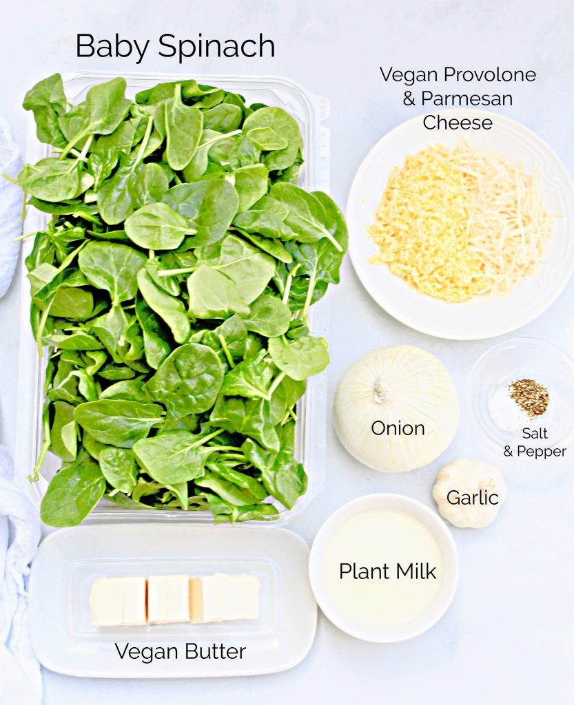 Ingredients needed for vegan creamed spinach