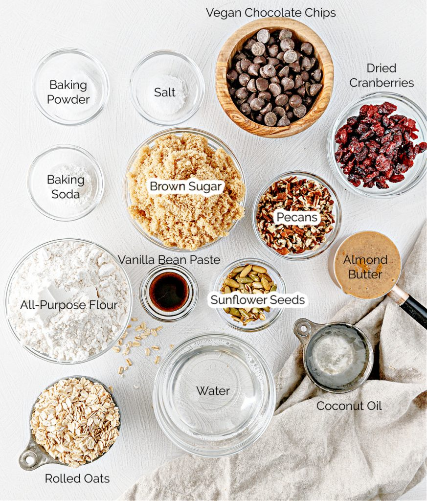 Ingredients for Trail Mix Cookies