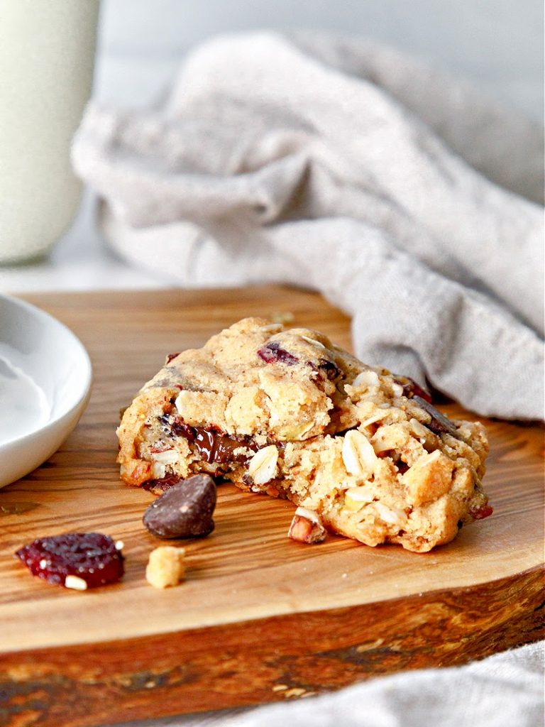 Trail Mix Cookie cut open to show inside.