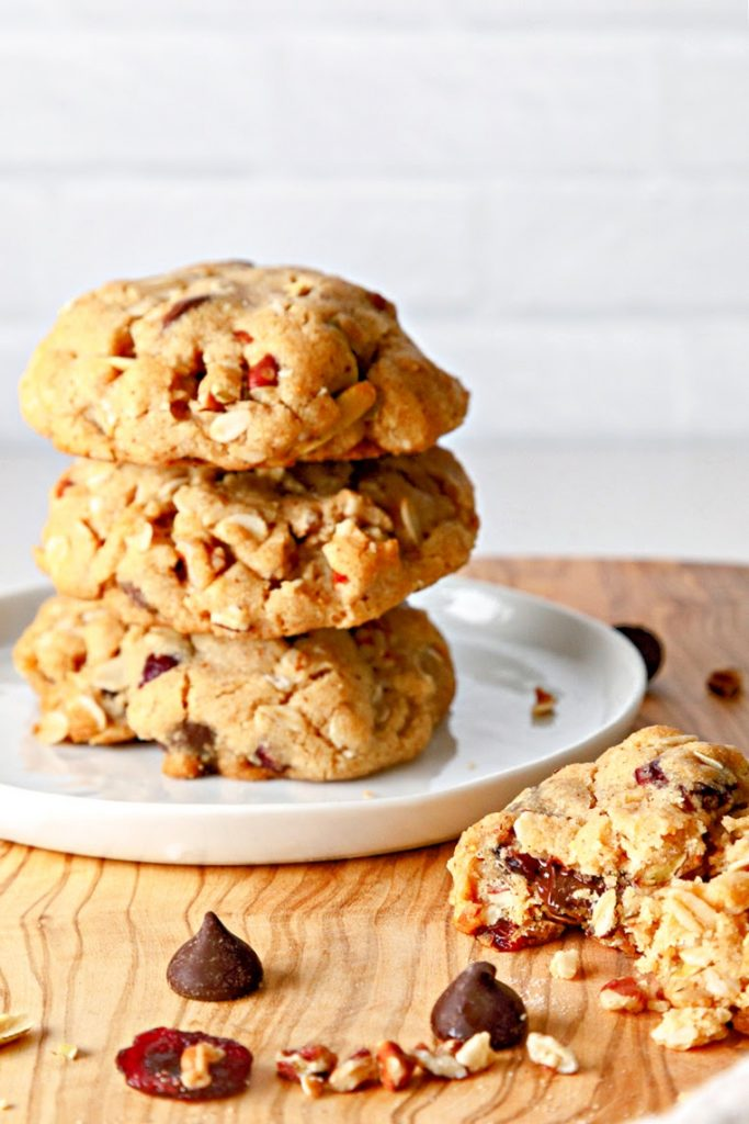 Baked Trail Mix Cookies on a plate.