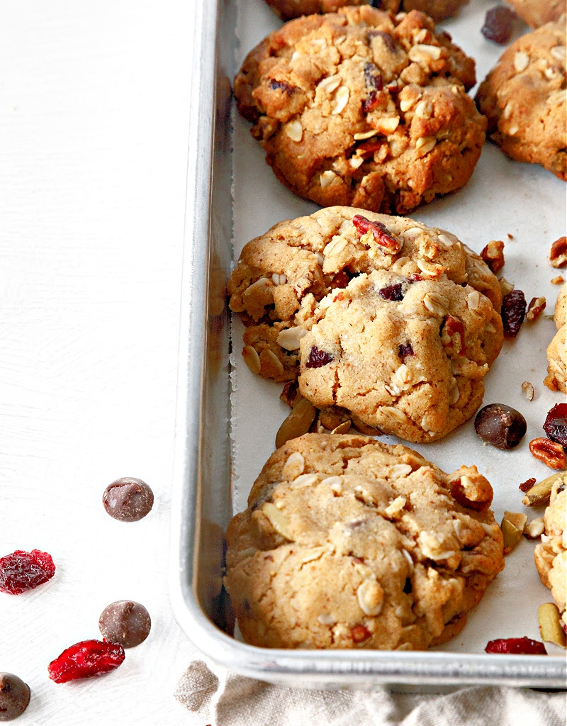 Trail Mix Cookies on baking sheet.