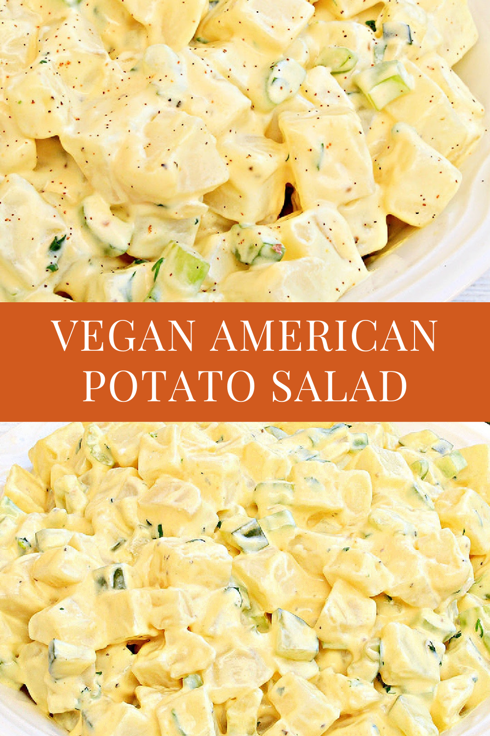 This vegan American-style potato salad is creamy, tangy, and perfect for summertime picnics, potlucks, and the 4th of July! via @thiswifecooks