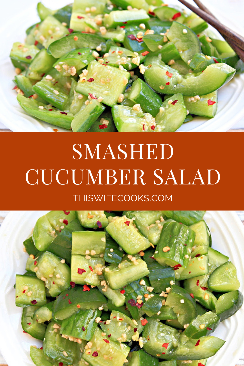 """This Chinese cucumber salad, known as pai huang gua, or """"smashed cucumbers,"""" is a refreshing spin on cucumber salad. It's light, tangy, and crisp. Slightly salty and sweet with a just touch of heat. via @thiswifecooks"""
