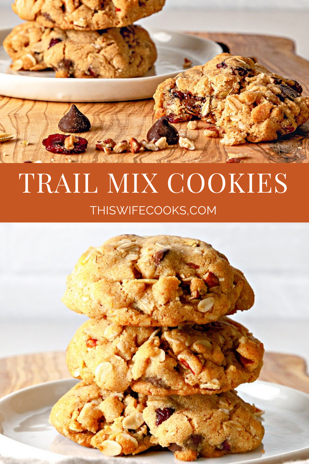 Trail Mix Cookies! Hearty and satisfying dairy-free cookies packed with a delicious balance of salty and sweet. via @thiswifecooks