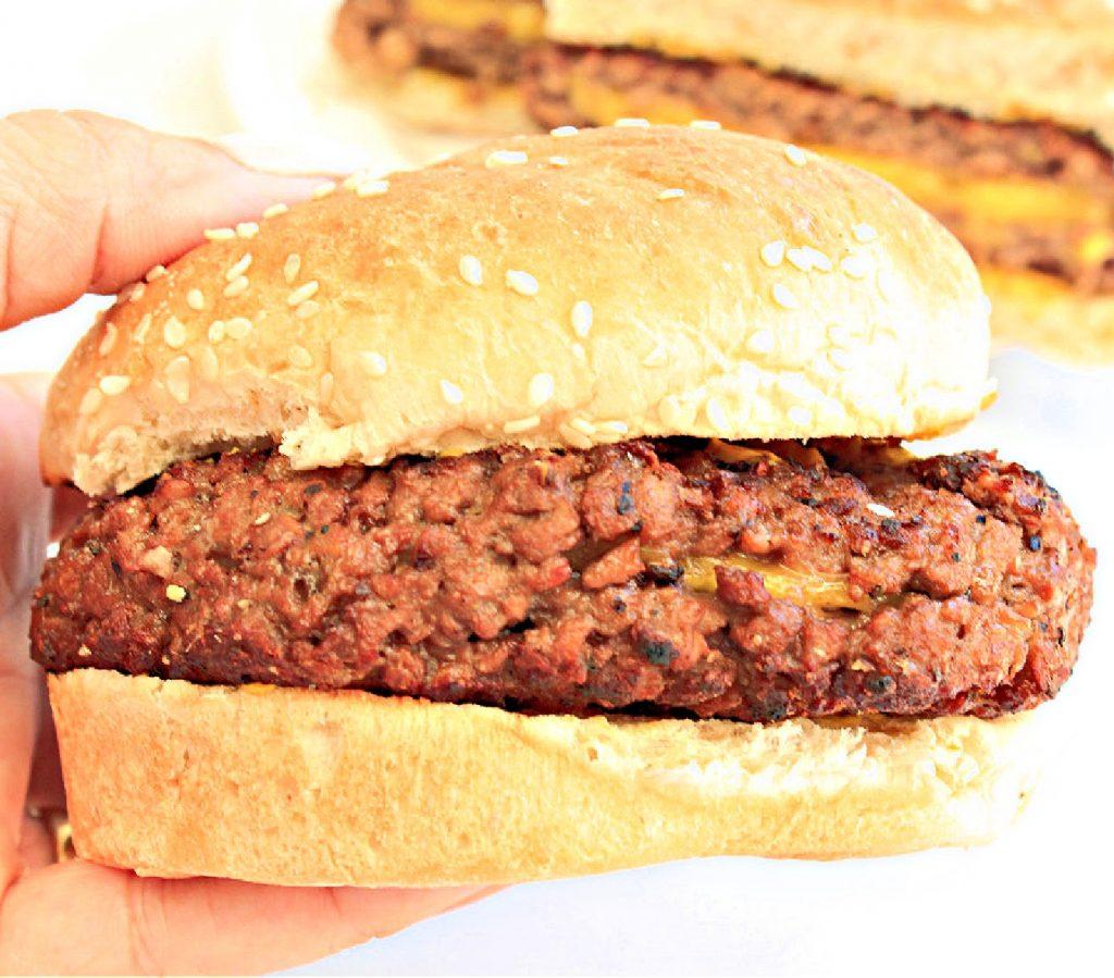 Whole burger on bun