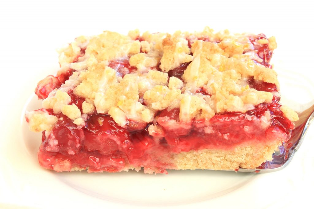 Single serving of cherry pie bar.