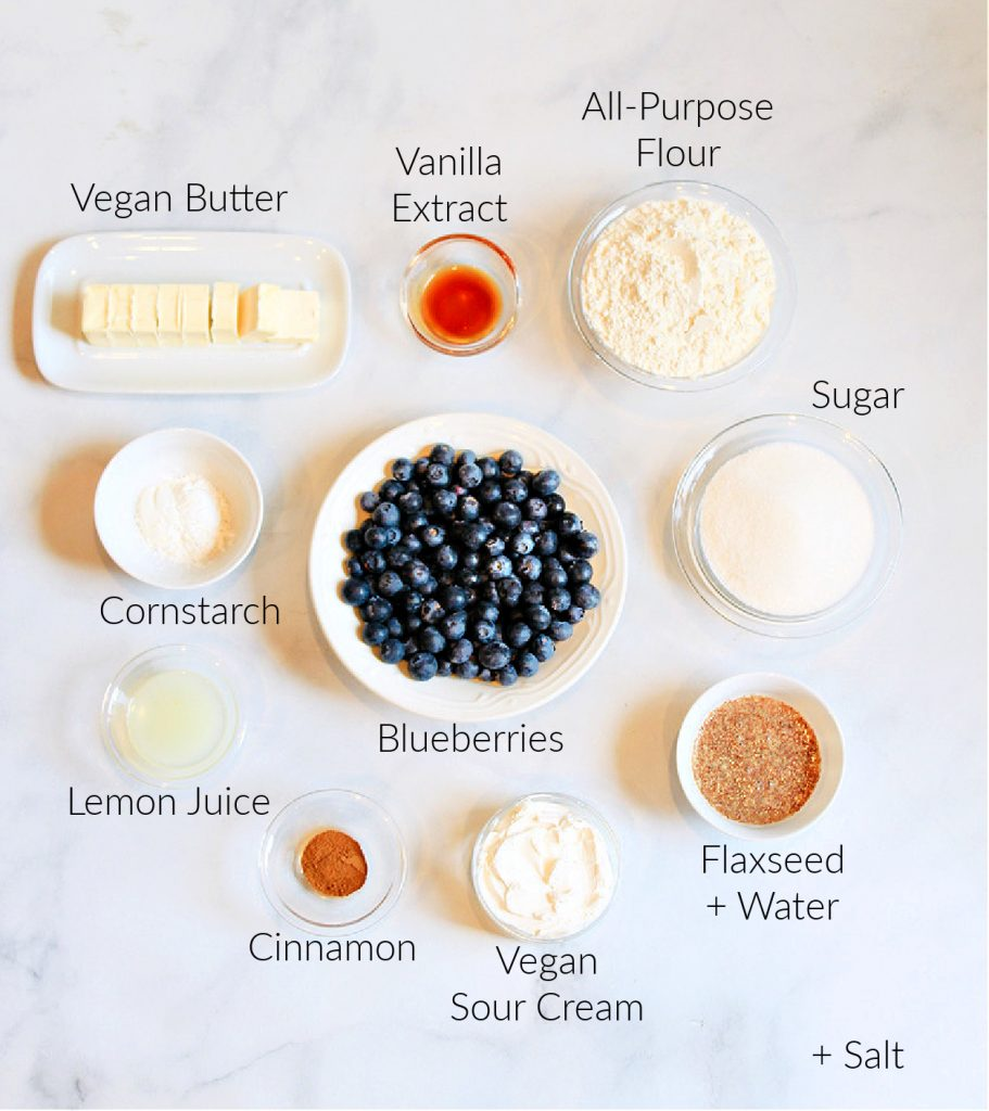 Ingredients for blueberry dessert recipe.