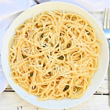 Pasta Piccata ~ Linguine tossed in a lemon, butter, and capers sauce is simple, satisfying, and on the table in 20 minutes or less!