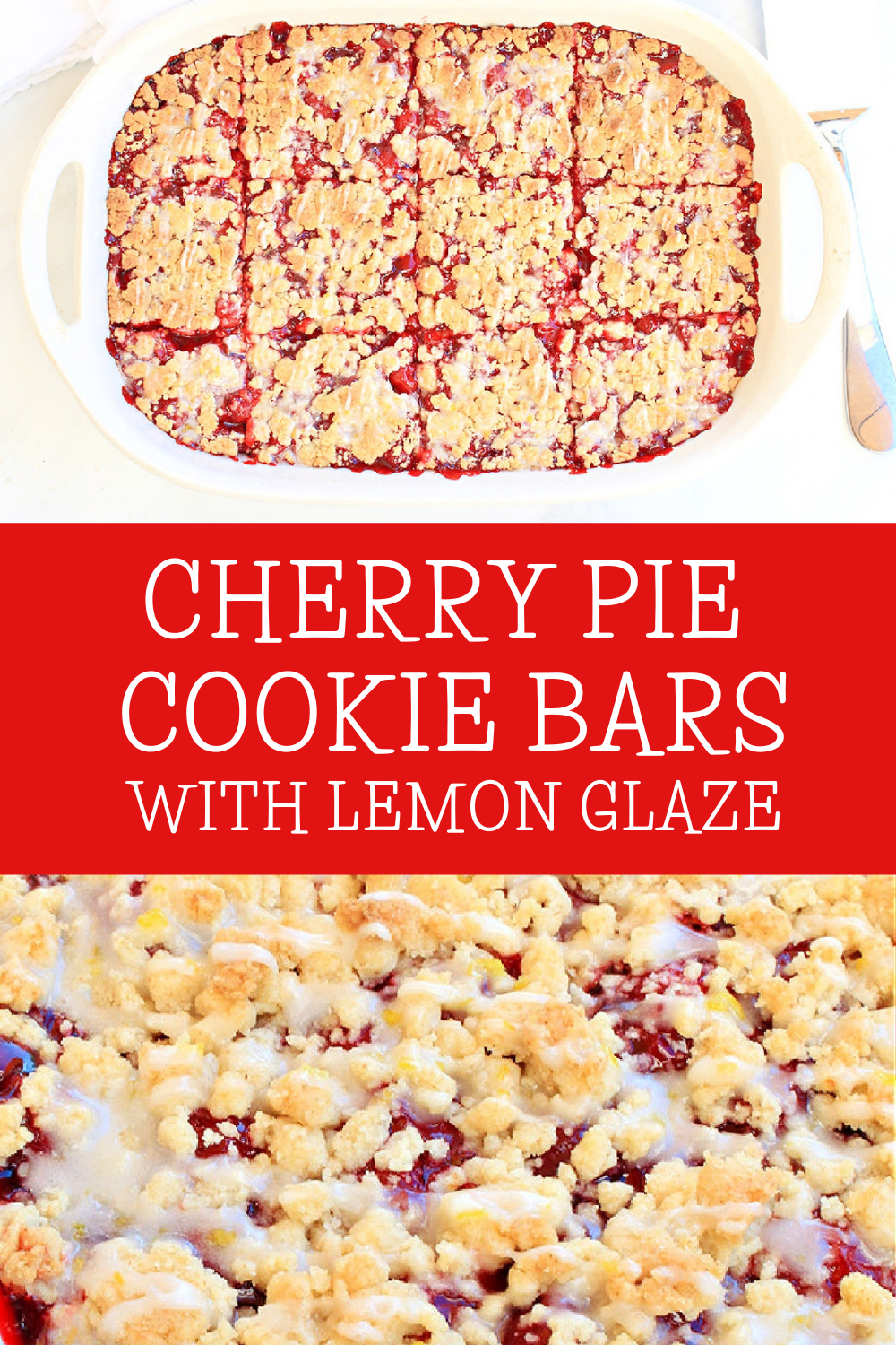 If you love cherry pie and you love sugar cookies, you're going to love these easy and delicious dessert bars!  via @thiswifecooks