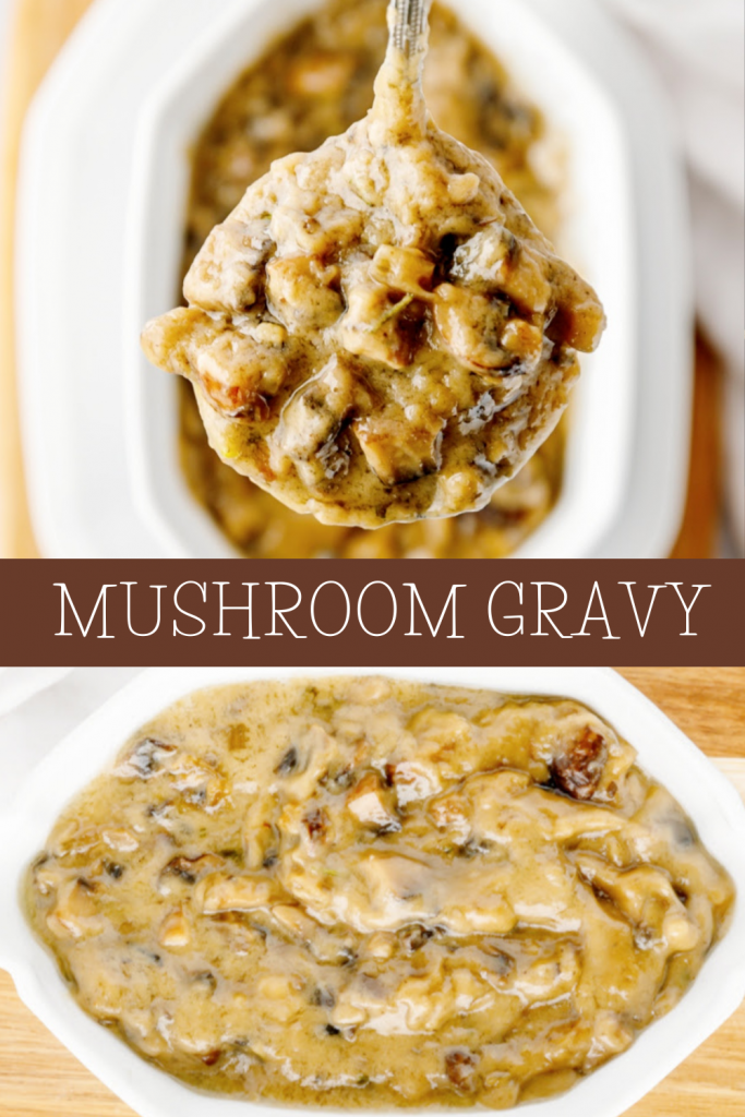 Two images of mushroom gravy in ladle and in serving bowl.