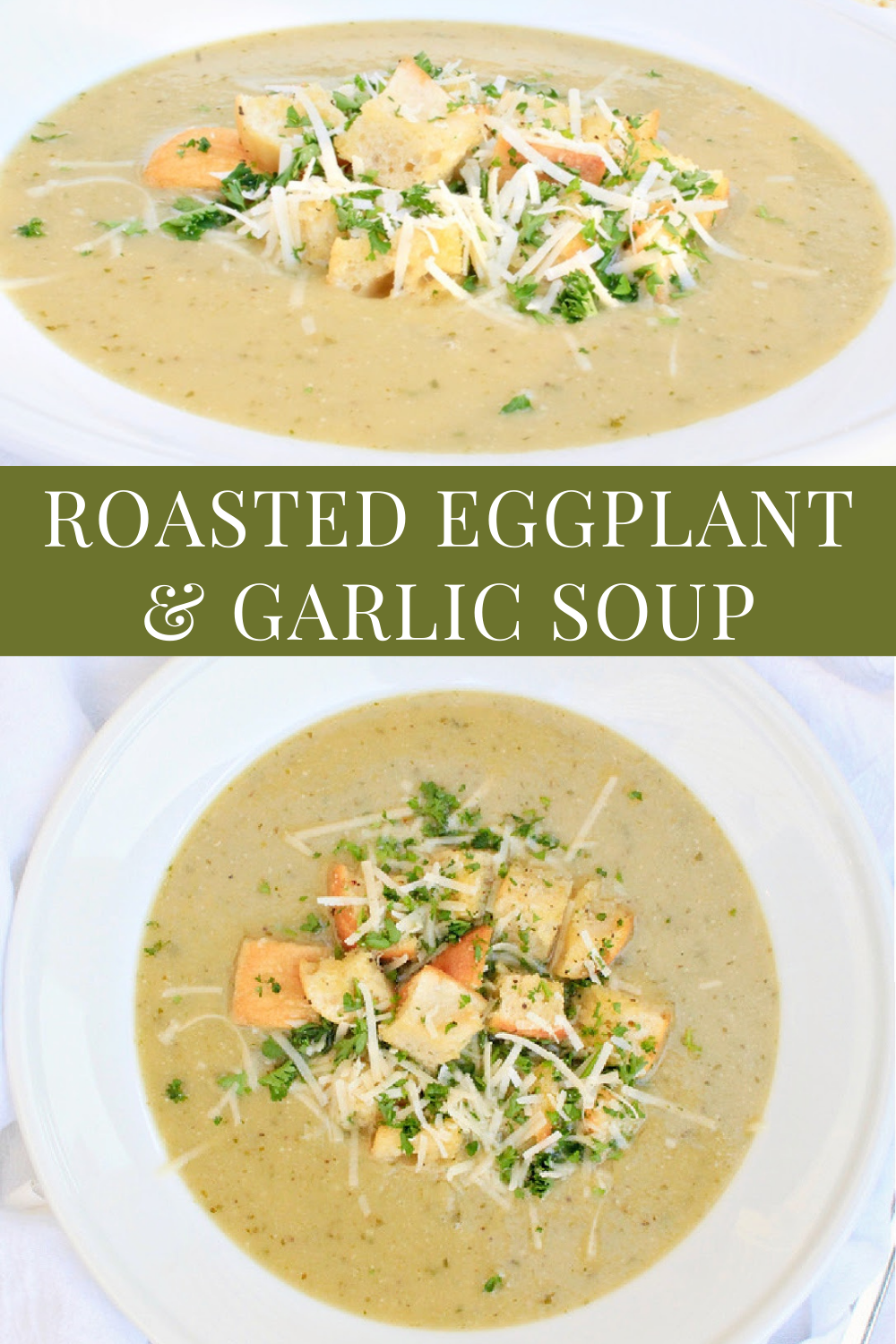Roasted Eggplant and Garlic Soup ~ This restaurant-quality, company-worthy soup is elegant, rich with flavor, and completely indulgent! via @thiswifecooks