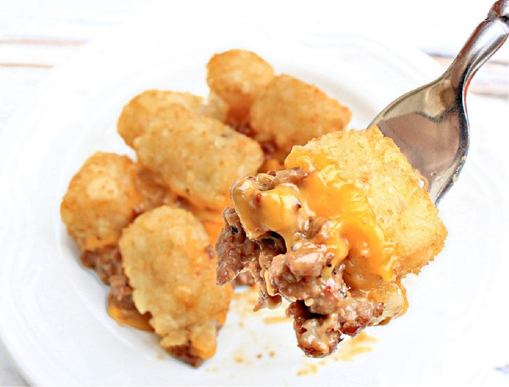 """Cowboy Casserole ~ Kids and adults alike love this hearty and satisfying """"meat and potatoes"""" dinner! Perfect for busy weeknights!"""