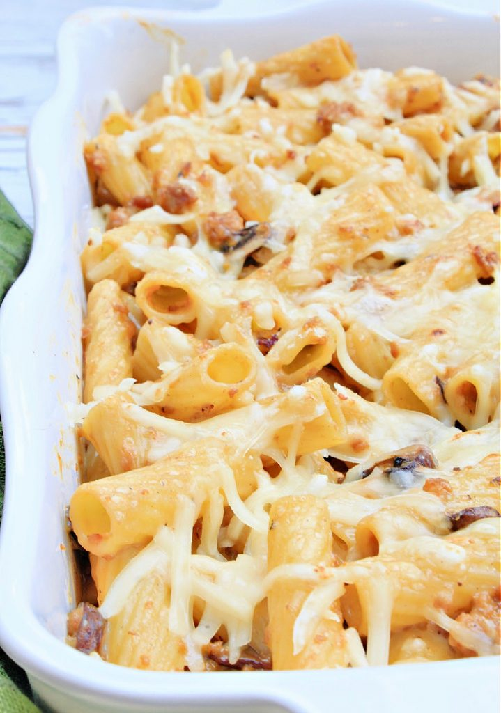 Vegan Sausage and Mushroom Pasta Bake ~ hearty and comforting casserole made with sweet Italian sausage and mushrooms in a creamy, dairy-free white sauce. Ready to serve in about 30 minutes!
