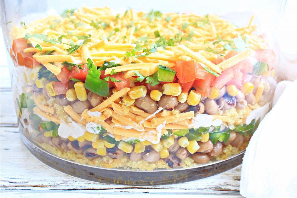 Black-Eyed Pea & Cornbread Salad ~ This Southern-style layered salad is easy to make with plant-based ingredients and great for summertime picnics and potlucks!
