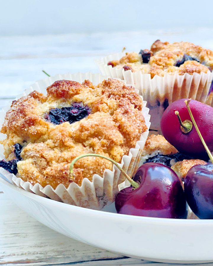 Cherry Muffins ~ Sweet, simple, and bursting with the flavor of fresh cherries! These quick and easy muffins are perfect for breakfast, brunch, afternoon snack, or dessert!
