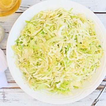 Oil and Vinegar Coleslaw ~ A cool and crisp, mayonnaise-free coleslaw made with simple ingredients! Ready to serve in about 20 minutes!