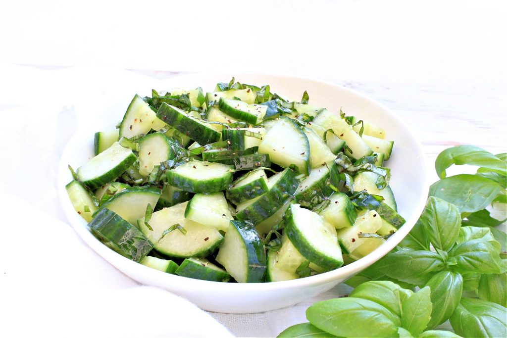 Cucumber and Basil Salad ~ Simple ingredients and minimal prep work make this easy and fresh side dish a summertime winner!