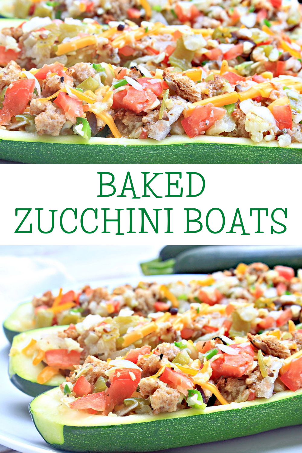 Baked Zucchini Boats ~ These garden-fresh zucchini stuffed with veggies serve 4 as a light main course or 8 as a side dish. via @thiswifecooks