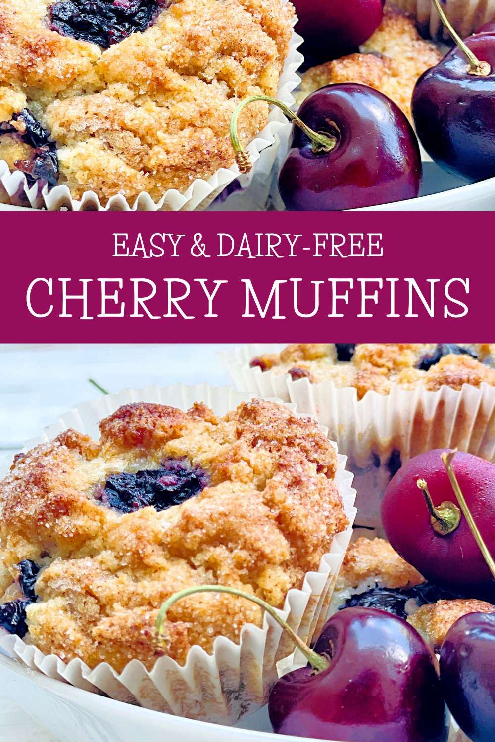 Cherry Muffins ~ Sweet, simple, and bursting with the flavor of fresh cherries! These quick and easy muffins are perfect for breakfast, brunch, afternoon snack, or dessert!  via @thiswifecooks