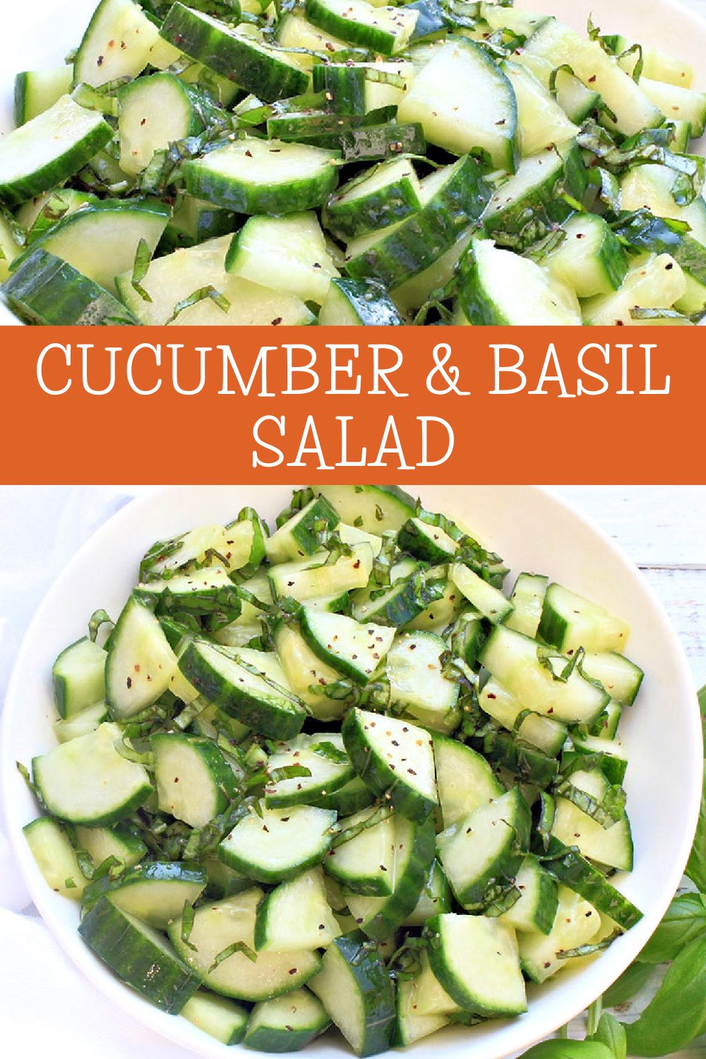 Cucumber and Basil Salad ~ Simple ingredients and minimal prep work make this easy and fresh side dish a summertime winner!  via @thiswifecooks