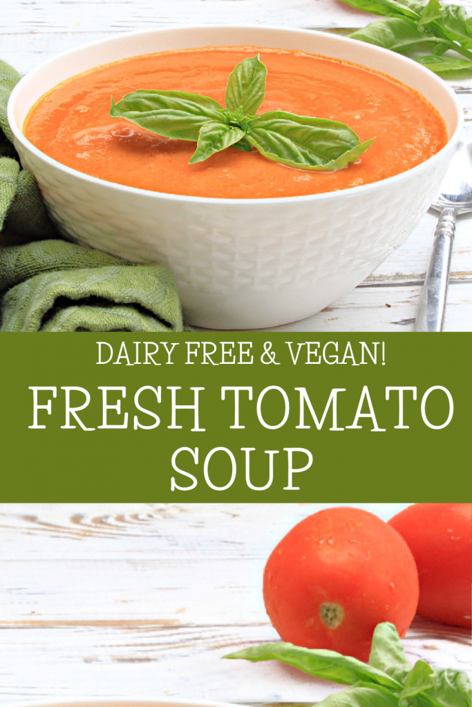 Fresh Tomato Soup ~ The flavors of garden-fresh tomatoes shine in this healthy, plant-based, comfort food classic!