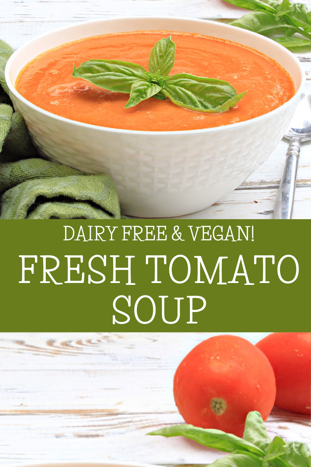 Fresh Tomato Soup ~ The flavors of garden-fresh tomatoes shine in this healthy, plant-based, comfort food classic! via @thiswifecooks