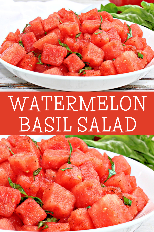 Watermelon Basil Salad is light, refreshing, and simple to make!  Chili powder, lemon, & salt counterbalance the sweetness of the watermelon. via @thiswifecooks