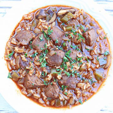 Vegan Beef and Rice Stew ~ A hearty and flavorful one-pot meal that is sure to satisfy! Ready to serve in just 30 minutes!