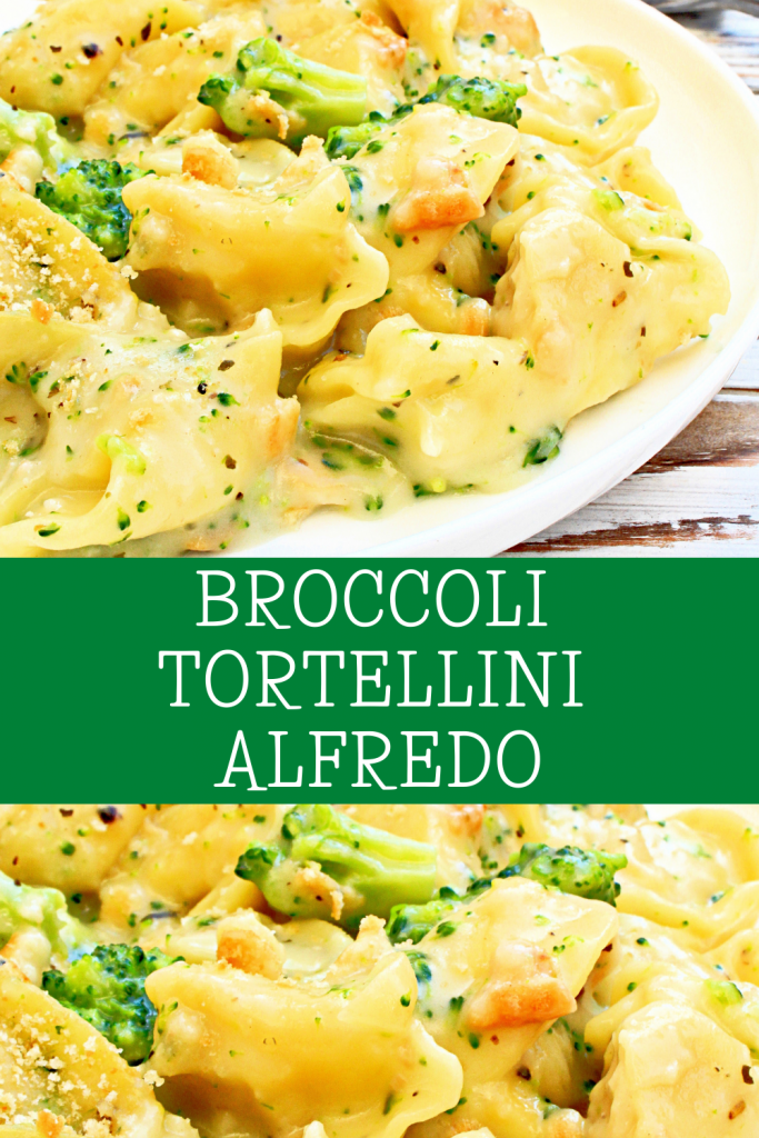 Vegan Broccoli Tortellini Alfredo ~ Easy, dairy-free casserole made with store-bought vegan tortellini and a quick, homemade Alfredo sauce. Ready to serve in 30 minutes! Perfect for busy weeknights!