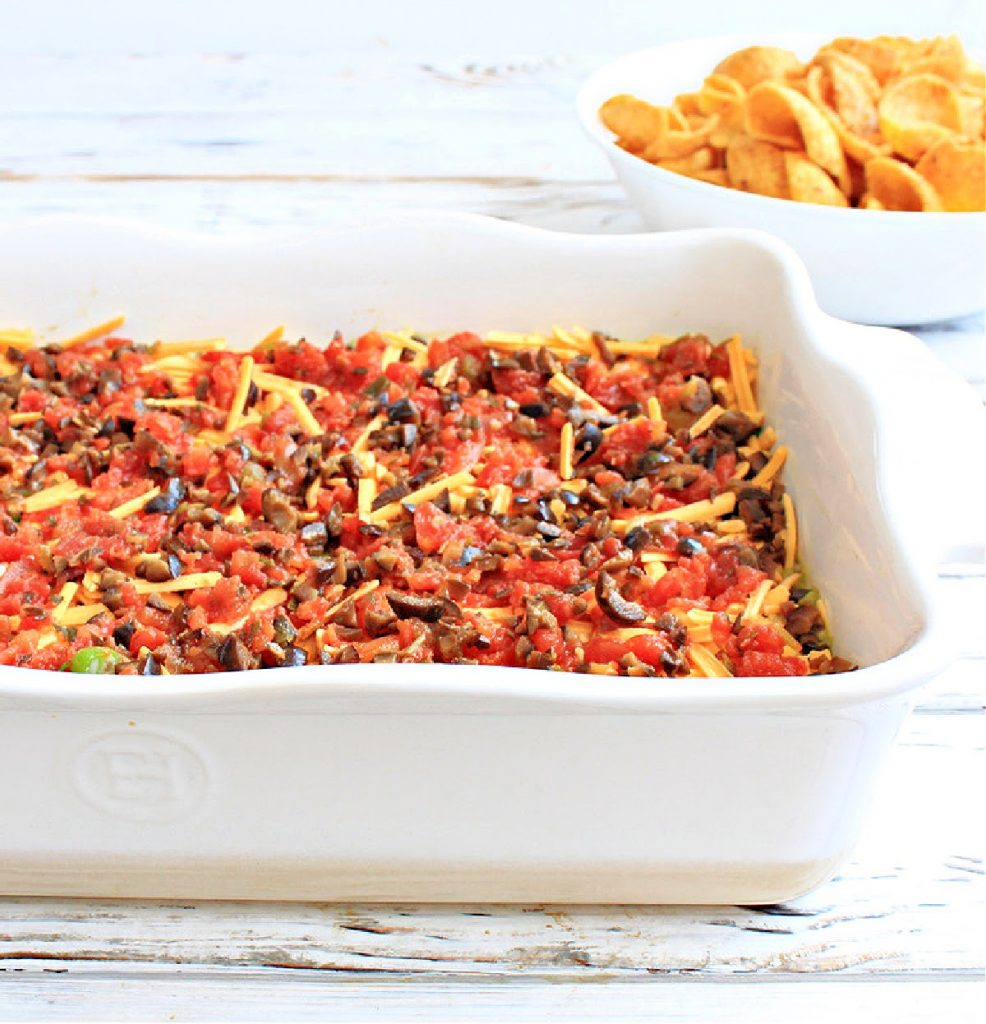 Vegan Tex Mex Dip ~ A classic party dip made with seven layers of dairy-free Tex Mex flavors! Serve this easy and colorful appetizer with corn chips and watch it disappear!