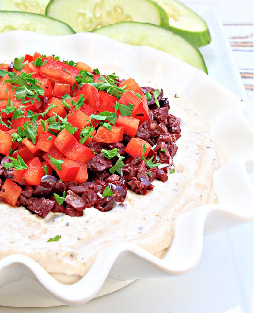Vegan Whipped Feta Dip ~ Serve this quick and easy Mediterranean-style dip with fresh veggies and pita chips for a quick and easy appetizer your guests will love!