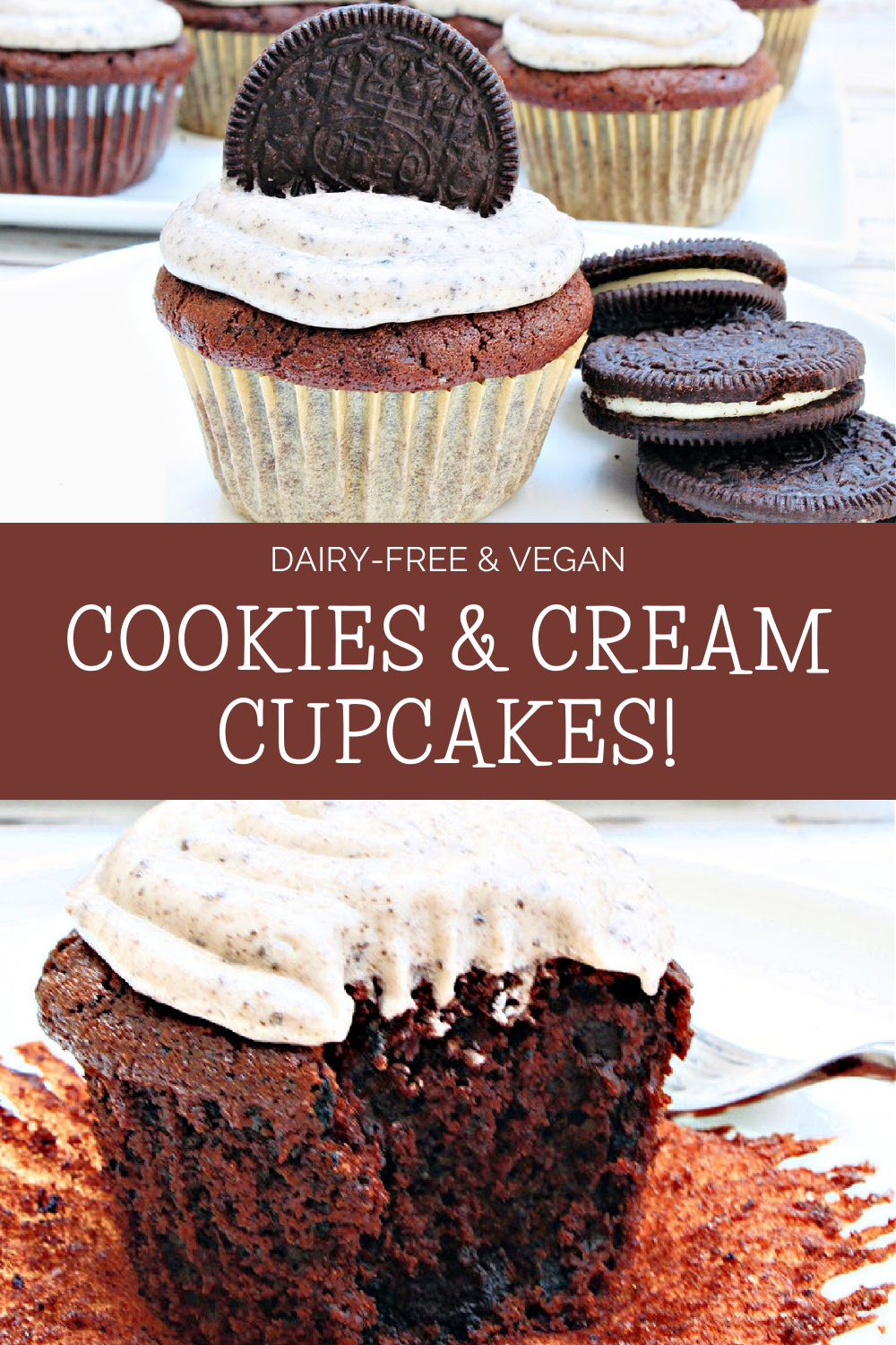 Vegan Cookies and Cream Cupcakes ~ Chocolate Oreo cupcakes topped with Oreo-infused buttercream frosting! Perfect for a birthday party or everyday treat! via @thiswifecooks