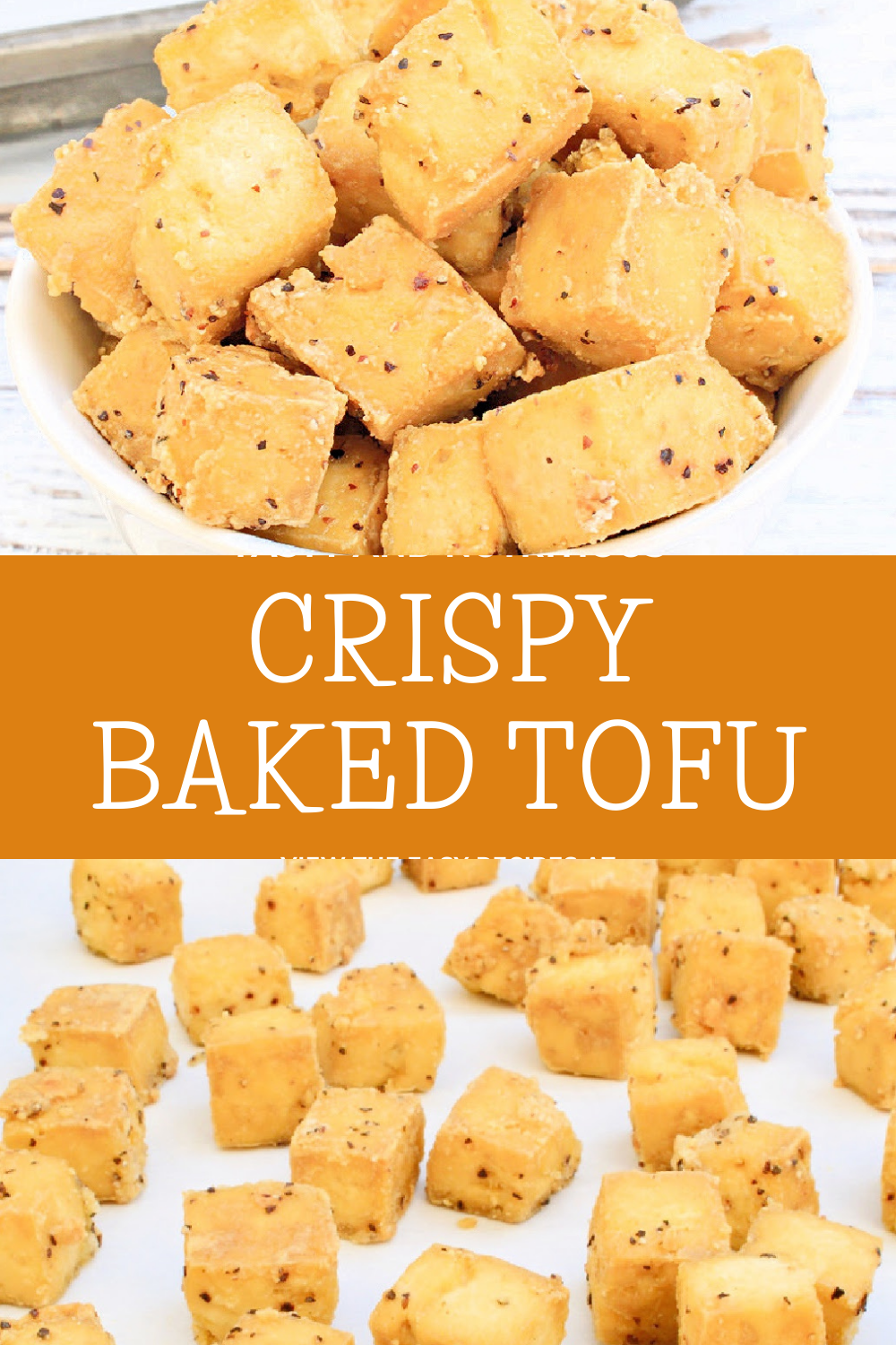 Crispy Baked Tofu ~ Cubed tofu tossed with simple seasonings and baked to golden perfection. Uncomplicated, flavorful, and so easy! via @thiswifecooks
