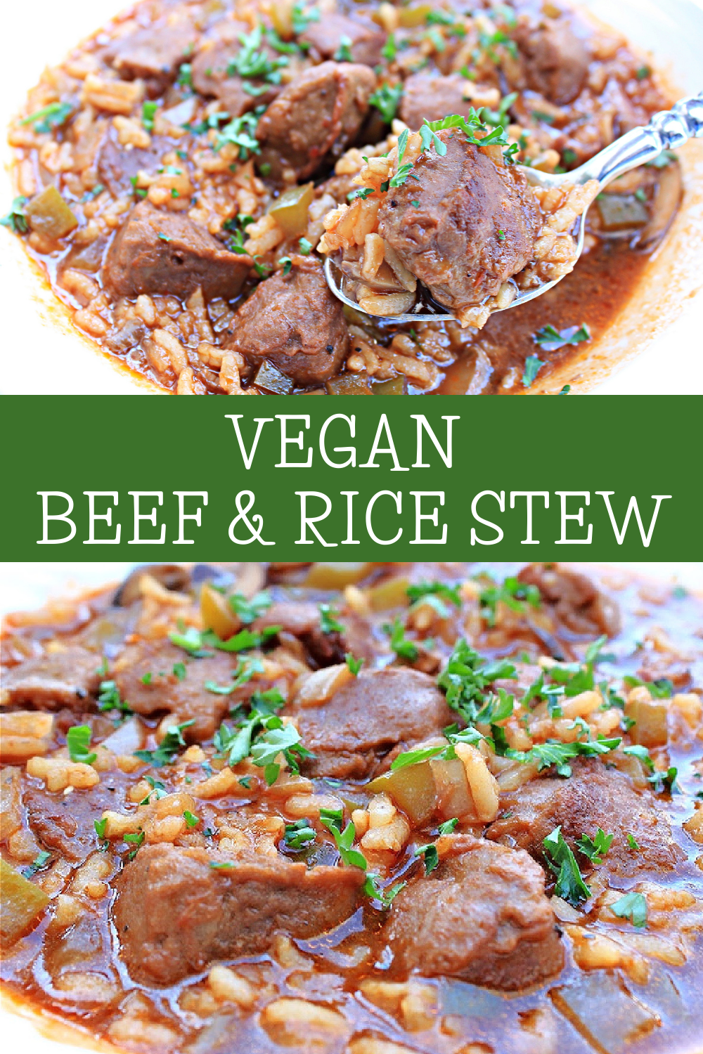 Vegan Beef and Rice Stew ~ A hearty and flavorful one-pot meal that is sure to satisfy! Ready to serve in just 30 minutes! via @thiswifecooks