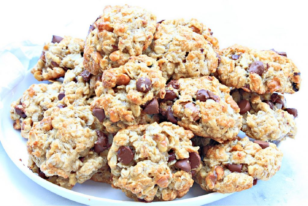 Vegan Banana Oatmeal Walnut Chocolate Chip Cookies ~ These chewy, easy-to-make, dairy-free cookies are perfect for packing in lunches or as an after-school snack!