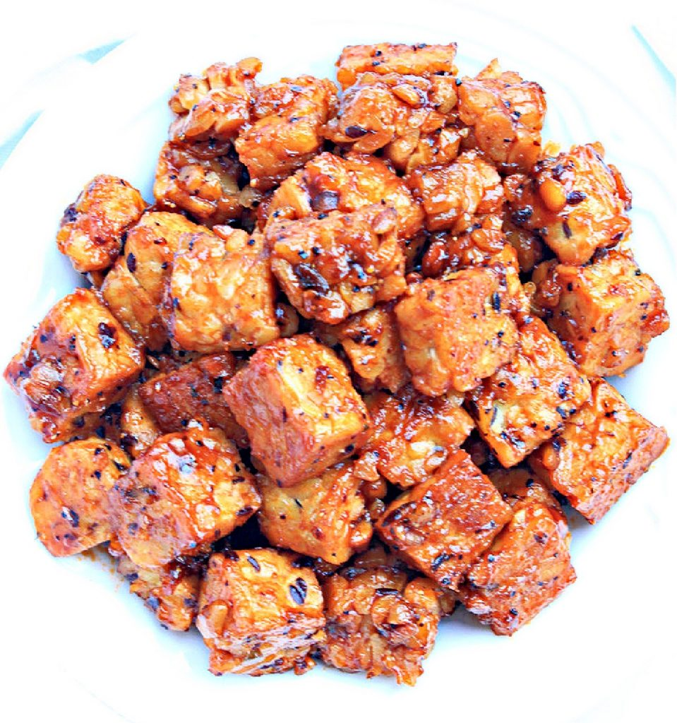 Barbeque Tempeh ~ Six simple ingredients and about 10 minutes are all you need for this delicious, high protein, and plant-based BBQ dish!