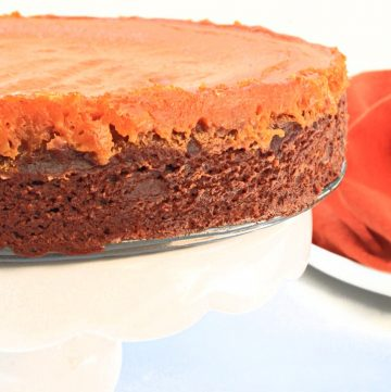 Pumpkin Brownie Pie ~ A dairy-free mashup of two favorite desserts - rich, fudgy brownies and creamy pumpkin pie! Perfect for Thanksgiving or Halloween!
