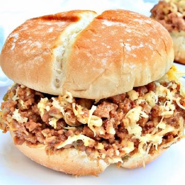 Cheesesteak Sloppy Joes ~ A crowd-pleasing, plant-based version of the 'poor man's cheesesteak!' Easy, budget-friendly weeknight meal in 20 minutes or less!