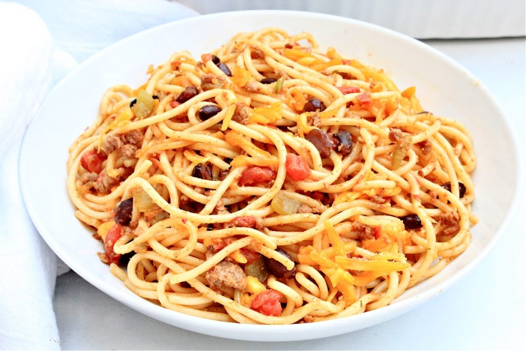 Taco Spaghetti ~ Tex-Mex meets Italian! This taco-inspired casserole, also known as Mexican Spaghetti, is a hit with kids and adults alike!